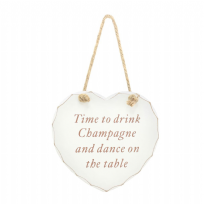 Champagne Hanging Heart Plaque